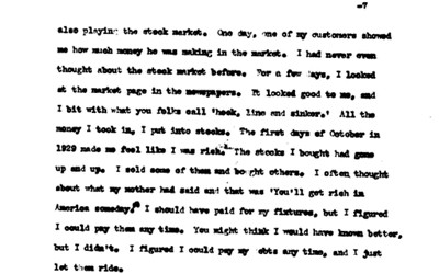 Interview with George Mehales about his life, including what happened to him when the stock market crashed in 1929.