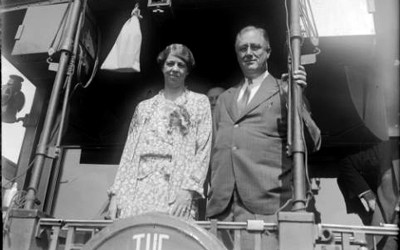 President Franklin Delano Roosevelt and his wife Eleanor Roosevelt pose on a train probably near Denver, Colorado.