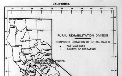 The map was designed to assist Dust Bowl families in relocating to migrant camps in California.