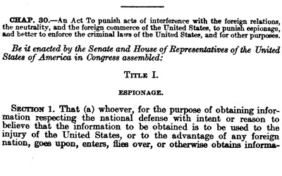 A small excerpt from the espionage act.