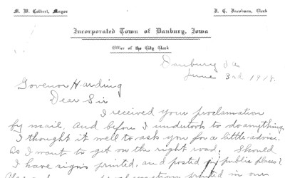 A letter from Maurice Colbert, mayor of Danbury, Iowa, to Gov. Harding asking for advice in implementing Babel Proclamation.