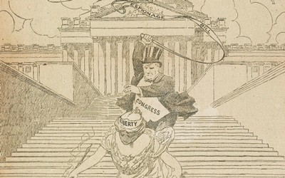 "Cartoon shows a woman labeled ""Liberty"" being chased down the steps of the U.S. Capitol by a man labeled ""Congress"" with a whip labeled ""Espionage Bill."""