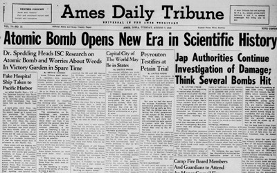 "Newspaper article that appeared in the Ames Tribune which ""unveiled"" Iowa's role in the development of the atomic bomb."