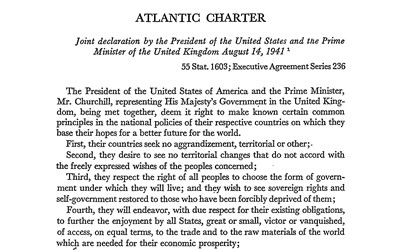 Text of a declaration made by President Roosevelt and Prime Minister Churchill.