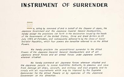 Document outlining the surrender of Japan.