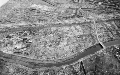 Aerial view of Nagasaki, Japan after atomic bombing taken by the US Army.