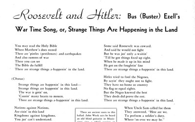 """Roosevelt and Hitler"" War-Time Song"