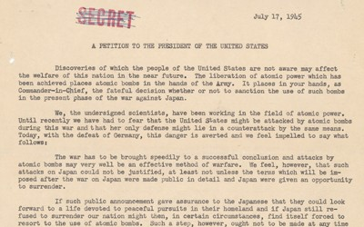 Petition from Leo Szilard and Other Scientists to President Harry S. Truman