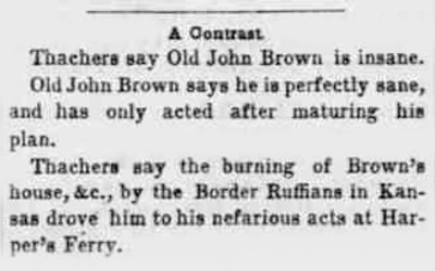 An article contrasts the explanations of John Brown's actions, compared between John Brown's reasoning and the trial judge's.