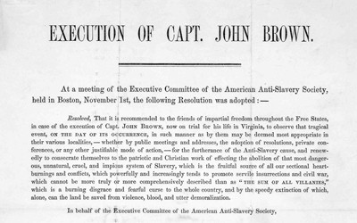 This image is a broadside (poster) published by the American Anti-Slavery Society in 1859 about the execution of John Brown