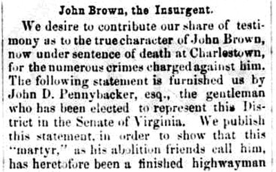 Article with the testimony of a Mr. Pennybaker about John Brown