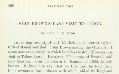 A recollection of John Brown's last visit to Tabor, Iowa.