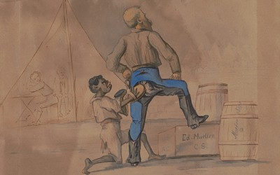"""While fighting in the 32nd Indiana during the Civil War, Captain Adolph Metzner documented his experiences through a series of drawings. In this one an unnamed general stands with one leg raised on a box, one hand on his hip, and the other on his knee as an African-American (possibly a """"contraband"""") mimics his posture while polishing the rear of the general's pants."""
