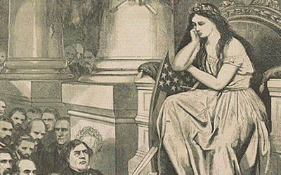 """This August 5, 1865 image by Thomas Nast contrasts Confederate politicians and generals begging and pleading for pardons with an African-American Union veteran who lost a leg in service to his country, but does not have the right to vote. Columbia, representing the United States, asks herself, """"Shall I trust these men and not this man?"""""""