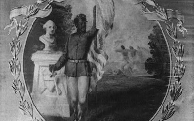This is a photograph of the United States Colored Troops, 45th Regiment's flag. On it is an African-American soldier with an American flag in hand standing beside a bust statue of George Washington.