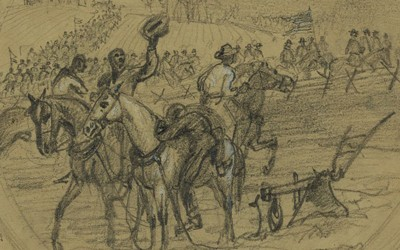 "Published in the March 26, 1864 edition of Harper's Weekly as part of ""Scenes Connected with General Custer's Movement Across the Rapidian,"" Alfred R. Waud's drawing depicts three slaves on horseback leaving the field to join Union troops marching down a nearby road."