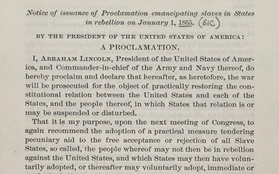 First Edition of President Abraham Lincoln's Preliminary Emancipation Proclamation, September 22, 1862