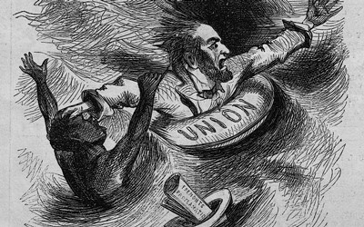 "This particular cartoon shows Abraham Lincoln, in a life preserver labeled ""Union"", on a storm tossed sea, pushing away an African American man who had been clinging to him. Next to them floats a hat with papers labeled ""Fremonts proclamation"" and in the background is the mast of a ship flying a ""Proclamation"" pennant."