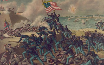 Published July 5, 1890, this colored lithographic print shows the 54th Massachusetts Volunteer Infantry Regiment, led by Colonel Robert Gould Shaw, storming the walls of Fort Wagner on Morris Island, South Carolina and engaging Confederate soldiers in brutal hand-to-hand combat.