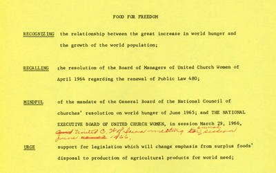 """""""Food for Freedom"""" Church Women United Letter"""