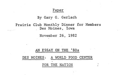 Essay by Gary Gerlach about the success and advancement of agriculture in Iowa