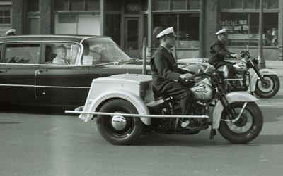 Russian Premiere Nikita Khrushchev is seen in this photo in a motorcade traveling down Keosauqua Way en route to a reception at Hotel Ft. Des Moines.