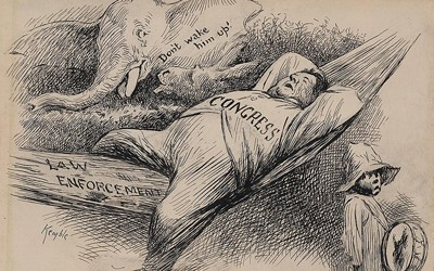 "This 1902 political cartoon by  Edward Windsor Kemble depicted Congress as a fat man asleep in a hammock labeled ""Law Enforcement"" while a broken gun labeled ""14th Amendment, 2nd Section"" laid below him. A young African-American boy stood nearby holding a drum, but an elephant in the background cautioned, ""Don't wake him up!"""