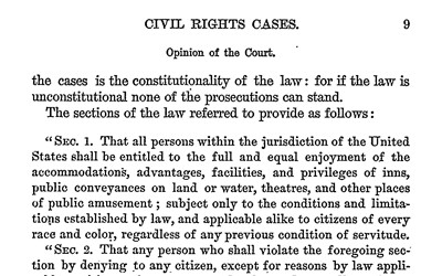 By an 8-1 decision, the Supreme Court ruled that the 1875 Civil Rights Act was unconstitutional.