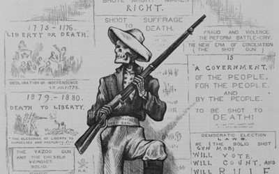 "Found on the cover of Harper's Weekly's October 18, 1879 edition, Thomas Nast's image portrayed a skeleton labeled ""solid Southern shot gun"" at a polling station holding a shotgun with one foot standing atop a glass bowl labeled ""Suffrage"" and ""Liberty."" Surrounding him were dead bodies, including one labeled ""Nigger Insurrection."" Behind the skeleton were messages that mocked the idea of free elections in the South."