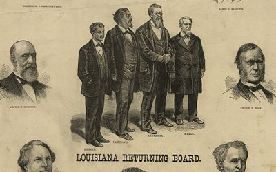 Created after the electoral commission awarded Republican candidate Rutherford B. Hayes all nineteen disputed electoral votes and in turn the presidency, this lithograph criticized the four members of the Louisiana election board and the eight Republicans on the congressional election commission for acting contrary to what the artist believed was the will of the people (Hayes earned nearly 300,000 less popular votes than Samuel J. Tilden, the Democratic nominee).