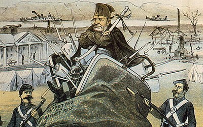 "Two part cartoon showing: woman, ""the Solid South"", carrying Ulysses S. Grant in a carpet bag marked ""carpet bag and bayonet rule""; Rutherford B. Hayes plowing under the carpet bag & bayonets with a plow marked ""Let'em alone policy."""