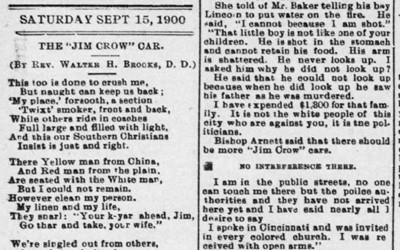 """The 'Jim Crow' Car"" Newspaper Article, September 15, 1900"