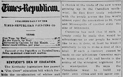 On November 13, 1902, the Marshalltown (Iowa) Evening-Times Republican commented on a bill passed by Kentucky's legislature which called for the segregation of public schools. The paper was outraged and took special notice of the impact the bill would have on Berea College, the first interracial college in the South and one that promoted racial and social equality.