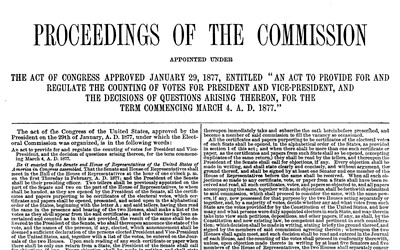 After election day in 1876, nineteen electoral votes from Florida, Louisiana, and South Carolina remained disputed because rival Democratic and Republican state election boards claimed victory in each of the three states. The Democrat Samuel J. Tilden needed only one electoral vote to win, whereas Rutherford B. Hayes, the Republican nominee, needed all nineteen.