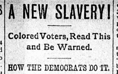 Printed in the September 21, 1900 edition of the Iowa State Bystander, an African-American newspaper published in Des Moines, Iowa, a warning was given to African-American voters in West Virginia about the dangers of voting for the Democratic Party in the upcoming election.