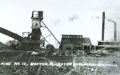This photograph shows damage done to Mine #12 at Buxton, Iowa, after an explosion that fatally crippled the coal mine.