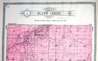Outline map of Bluff Creek Township in Monroe County, Iowa in 1919.  This map shows the boundaries of Buxton along with railroad lines operated by the Consolidation Coal Company in reference to all of Monroe County.