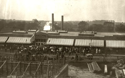 This photograph is of Monroe Mercantile, the Consolidation Coal Company's company store in Buxton, Iowa, at its grand opening following a rebuild after the first store was destroyed by fire. The photo is from 1911.