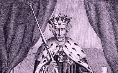 """The political cartoon """"King Andrew The First"""" depicts President Andrew Jackson as royalty, wearing the crown and robe of a monarch, holding a scepter and the veto power while stepping on the tattered Constitution and two bills proposed by Congress."""