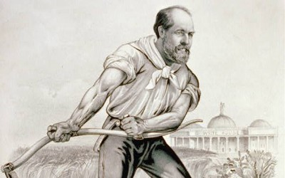 James Garfield, who was running for Republican nominee for president, is depicted in the cartoon as a farmer in a wheat field.