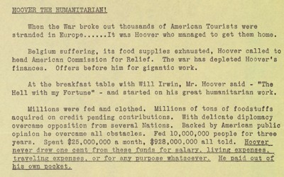 Campaign literature for Herbert Hoover's 1928 presidential campaign