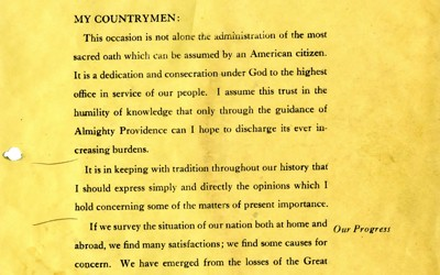 Herbert Hoover outlines his plans for his presidency in his inaugural address.