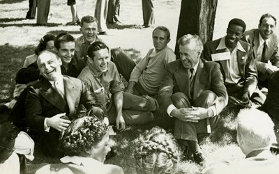 A photo of 1948 Progressive Party presidential candidate, Henry A. Wallace, as he campaigns at William Penn College in Oskaloosa, Iowa.