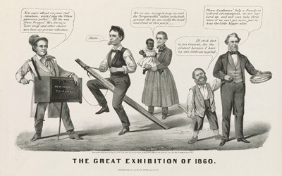 Political cartoon published before Lincoln's election in 1860.