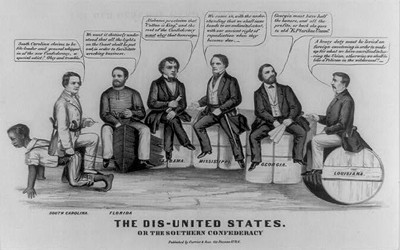 Cartoon showing Confederate leaders as a band of competing opportunists