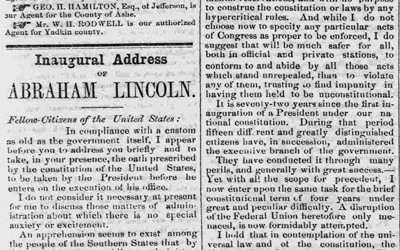 President Abraham Lincoln's first inaugural address