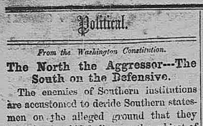 Newspaper article from the Anderson Intelligencer in October 1860