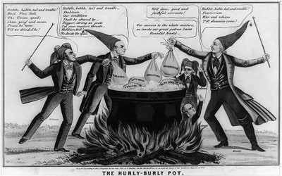 """This cartoon """"Hurly-Burly Pot"""" attacks abolitionist, Free Soil, and other sectionalist interests of 1850 as dangers to the Union"""