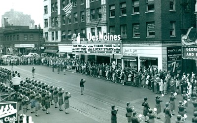 "Photo from outside the Des Moines Theater of the Women's Army Corps company from the Fort Des Moines training center at opening event for the premiere of the motion picture film ""Women at War."""
