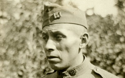 Photography taken circa 1918 of Native American Private Robert Young Bear, a Meskwaki soldier who served with 50th Company of the Transportation Corps.
